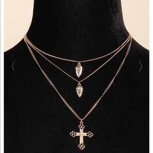 Three Layered Cross Necklace